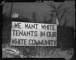 White tenants seeking to prevent blacks from moving into the Sojourner Truth housing project erected this sign. Detroit, 1942.
