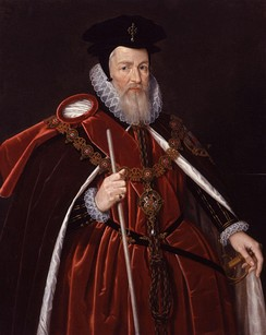 The Lord High Treasurer bears a white staff as his symbol of office. This is William Cecil, 1st Baron Burghley.