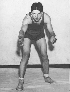 Norman Borlaug wrestling at the University of Minnesota