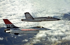 YF-16 and YF-17 during their competitive fly-off in 1974[note 4]