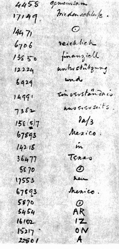 A portion of the Telegram as decrypted by British Naval Intelligence codebreakers. The word Arizona was not in the German codebook and thus had to be split into phonetic syllables.