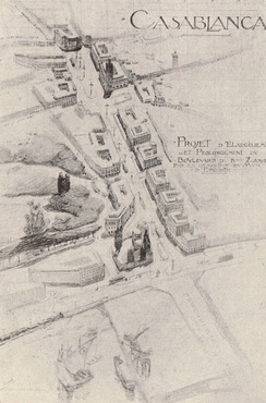 Henri Prost's plans to extend 4éme Zouaves Street (now Félix Houphouët-Boigny Street) from the port to the Place de France (now United Nations Square), part of his redesigns of Casablanca's urban landscape.