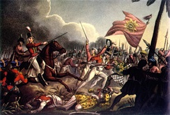 Battle of Assaye during the Second Anglo-Maratha War. Company replaced the Marathas as Mughal's protectors after the second Anglo-Maratha war.[53]