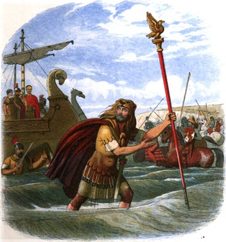 Illustration of the Romans landing in Britain