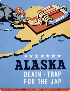 "A World War II anti-Japanese propaganda poster utilizing the ""Jap"" slur and depicting the Japanese as rats, after they conquered parts of Alaska."