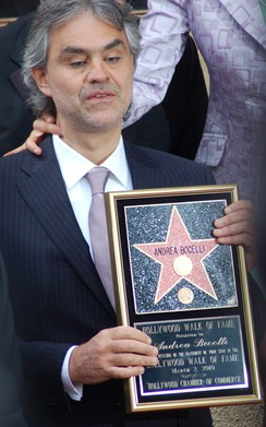 Bocelli receiving a star on the Hollywood Walk of Fame