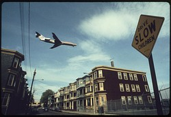 An airplane approaching Logan International Airport in 1973.