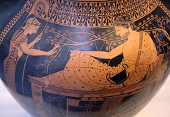 Herakles and Athena, red-figure side of the above amphora, by the Lysippides Painter, c. 520/510 BC, from Vulci, now in the Munich State Collection of Antiquities