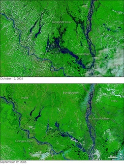 Dozens of villages were inundated when rain pushed the rivers of northwestern Bangladesh over their banks in early October 2005. The Moderate Resolution Imaging Spectroradiometer (MODIS) on NASA's Terra satellite captured the top image of the flooded Ghaghat and Atrai Rivers on October 12, 2005. The deep blue of the rivers is spread across the countryside in the flood image.