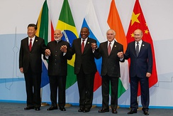 Leaders of the BRICS nations at the 10th BRICS summit in Johannesburg, South Africa, 2018