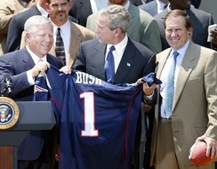 Belichick (right) at the Patriots visit to the White House in 2004