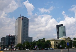 Business skyscrapers in Victory square