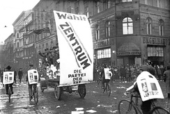 A Zentrum (Centre Party) banner and supporters during the 1930 election campaign