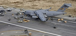 C-17 on the runway at Bagram Air Base, Afghanistan, on 30 January 2009 after landing with landing gear retracted