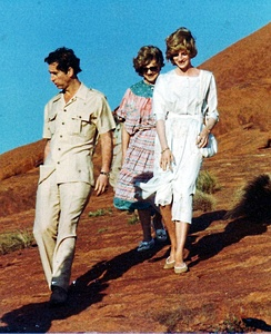 The Prince and Princess of Wales visit Ayers Rock in Australia, March 1983