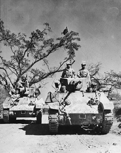 Chinese forces on M3A3 Stuart tanks on the Ledo Road