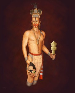 Illustration of a warrior holding a ceremonial flint mace or war club and a severed head