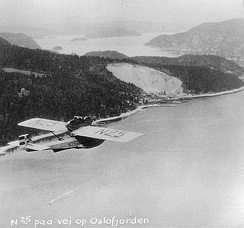 Amundsen's Dornier Do J flying over the Oslofjord, 1925