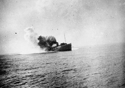 Isle of Man Steam Packet Company vessel Mona's Queen, pictured as she struck a mine on the approach to Dunkirk, 29 May 1940.