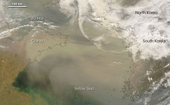 Satellite image of a dust storm over East Asia on 2 March 2008[3]