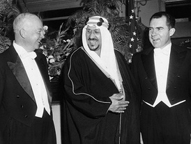 President Eisenhower and Vice President Richard Nixon with their host, King Saud of Saudi Arabia, at the Mayflower Hotel in 1957