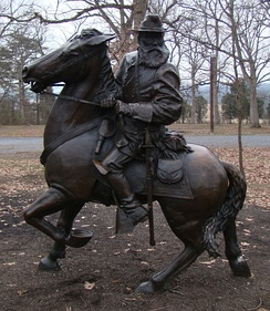 Equestrian statue of Confederate General James Longstreet on his horse Hero in Pitzer Woods at Gettysburg National Military Park, Gettysburg, PA