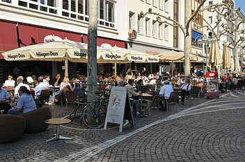 Sidewalk cafés at Fressgass