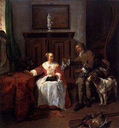 Gabriel Metsu, The Hunter's Gift, c. 1660, a study in marital relations, with a visual pun.[48]