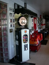 Vending machine shaped like a gas pump at the Polk-A-Dot Drive-In in Braidwood.