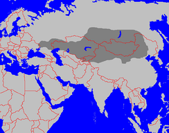 The largest extend of Xiongnu's influence in the 2nd century BC.