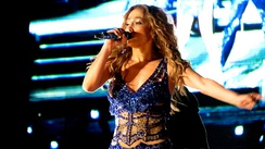 Jennifer Lopez performing at a pop music festival