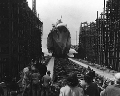 The newly constructed USS Birmingham is launched from the Newport News yards in 1942.