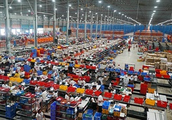 Lazada warehouse in Cabuyao, Laguna, Philippines during the company's 11.11 sale promotion in 2018. Lazada Group is a subsidiary of Alibaba Group and Alibaba co-founder Lucy Peng Lei is CEO of the company.