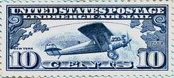 """Lindbergh Air Mail"" 10¢ issue (C-10) June 11, 1927"
