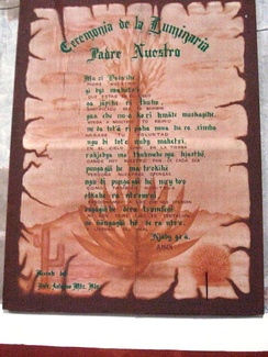 Lord's Prayer written in Spanish and Otomi at the Church of San Miguel in Ixmiquilpan