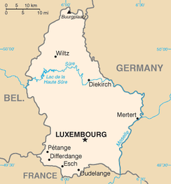 The largest towns are Luxembourg, Esch-sur-Alzette, Dudelange, and Differdange.
