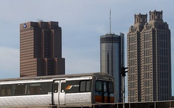 MARTA train with Downtown Atlanta in background