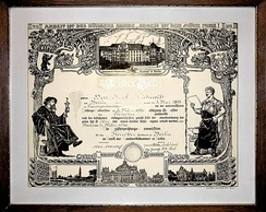 "A Meisterbrief (master craftsman's certificate) from the Berliner Handwerkskammer (Berlin chamber of handicrafts), the motto on the certificate reads ""Work is the ennoblement of the citizen; boon will be the reward for his labour"