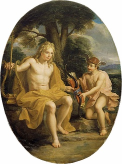 The friendship of Apollo and Hermes, by Noël Coypel