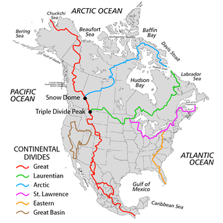 The Continental Divide in North America in red, among other major hydrological divides