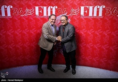 Oliver Stone and Reza Mirkarimi at the 2018 Fajr International Film Festival