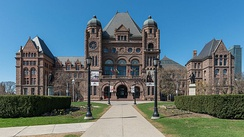 The southern facade of the Ontario Legislative Building, the meeting place for the Legislative Assembly of Ontario.