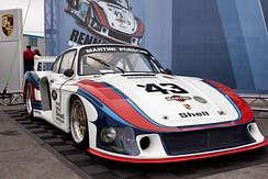 "The original Porsche 935/78 ""Moby Dick"" in Martini Racing livery at the Porsche Rennsport Reunion IV."