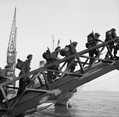 Troops from the 6th or 7th Battalion, Green Howards embarking onto the LSI 'SS Empire Lance' at Southampton, 29 May 1944.