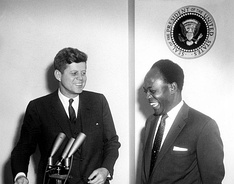 Kennedy with Kwame Nkrumah, the first president of an independent Ghana, March 1961.