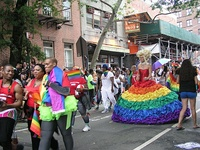 International Transgender Day of Visibility introduced by Manila-born Geena Rocero in New York City, top. The scene at the 2015 LGBT Pride March, below. New York City is home to the largest LGBTQ community in the United States and one of the world's largest.[296][297][298]