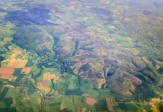 Aerial view of the Quantock Hills