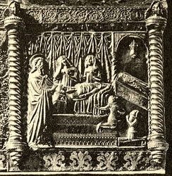 Tvrtko with his mother, brother and cousin Elizabeth at the deathbed of his uncle Stephen, as depicted on the Chest of Saint Simeon in the late 1370s