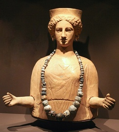 Adorned Statue of the Punic Goddess Tanit, 5th–3rd centuries BC, from the necropolis of Puig des Molins, Ibiza (Spain), now housed in the Archaeology Museum of Catalonia (Barcelona)