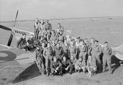 Squadron Leader Wade, second from right, with 145 Squadron pilots at Triolo Airfield, Italy